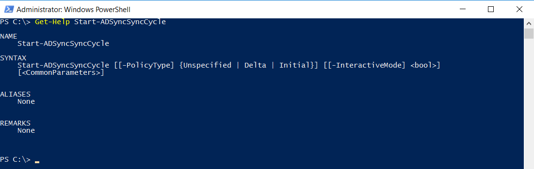 Azure AD Connect powershell Get-Help Start-ADSyncSyncCycle
